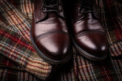 Male shoes. Male brown shoes and clothes Stock Image