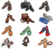 Male shoes collection. Men shoes over white background Stock Images