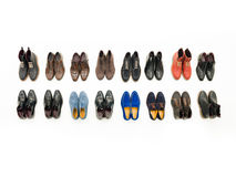 Male shoes collection. Top view of collection of male shoes isolated on white background Stock Photo