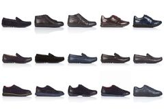 Male shoes collection on a white background, with a shadow on a glossy surface. Front view. 15 pieces Royalty Free Stock Images