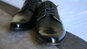 Male shoes, elegance wedding groom boots stock video footage