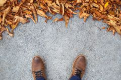 Male shoes on street with leaves Royalty Free Stock Images