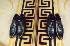 Male Shoes at Wardrobe Royalty Free Stock Images