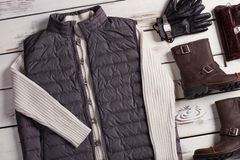 Male shop of stylish clothes. Men's clothes and accessories on a wooden background Stock Photo