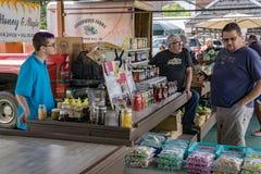 Male Shopper at the Salem Farmers Market Stock Photo