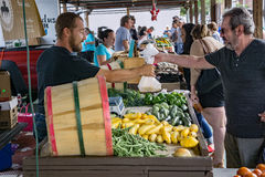 Male Shopper at the Salem Farmers Market. Salem, VA – July 27th: A male shopper buying fresh picked vegetables at the Salem Farmers Market located on Main Stock Photography