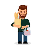 Male with shopping. Isolated character of a man with a bag of groceries Royalty Free Stock Photography