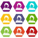Male shorn icon set color hexahedron. Male shorn icon set many color hexahedron isolated on white vector illustration Stock Photo
