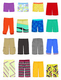 Male shorts. Set of male shorts and  swimming trunks Stock Photo