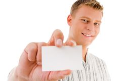 Male showing business card. With white background Stock Photos