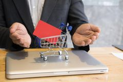 Male showing a credit card in mini supermarket cart trolley full. Young male showing a credit card in mini supermarket cart trolley full of coins on laptop Stock Images