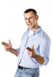 Male shows hand gun gesture Royalty Free Stock Image
