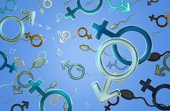 Male sign. Female and male sign on blue background Royalty Free Illustration