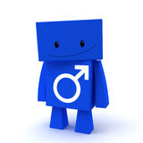 Male sign 3D character Royalty Free Stock Image