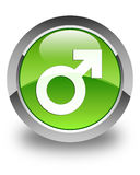 Male sign icon glossy green round button Stock Photos
