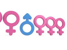 Male sign in row of Female signs. Stock Image