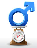 Male sign on scale pan Stock Photo
