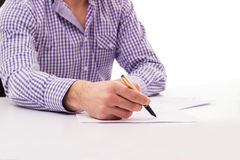 Male signature of the document Stock Photography