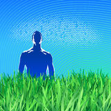 Male silhouette. Grass. Medical concept Royalty Free Stock Photography