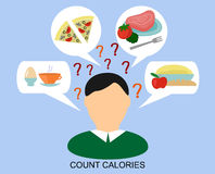 Male silhouette with a day diet and question marks Stock Image