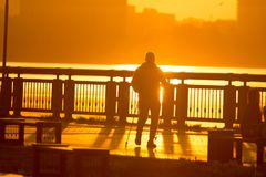 Male silhouette engaged in sports walking on the promenade at bright sunset. Horizontal Stock Image
