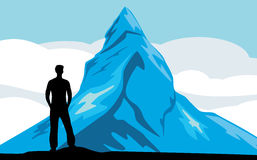 Male silhouette on the mountain background. Illustration Royalty Free Stock Photography