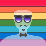 Male silhouette on the pride flag. Male hipster silhouette on the pride flag Royalty Free Stock Image