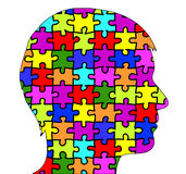 Male silhouette in puzzle pieces Stock Images