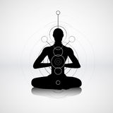 Male silhouette in yoga pose Royalty Free Stock Photography