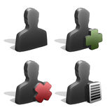 Male Silhouettes Icons. Four male silhouettes icons - blank, add, delete and edit. Graphite look Stock Photo