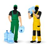 Male silhouettes working men delivery of drinking water Royalty Free Stock Photos