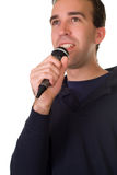 Male Singer. A male singer isolated on a white background Royalty Free Stock Images