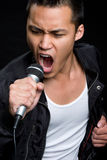 Male Singer. Asian male singer holding microphone Royalty Free Stock Image