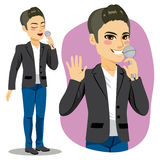 Male Singer. Attractive young male singer with microphone singing royalty free illustration
