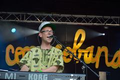 Male singer performing at festival copacobana. BELGIUM, GHENT, 27 JUNE 2015: Male singer performing at festival copacobana in ghent Royalty Free Stock Images