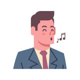 Male Singing Emotion Icon Isolated Avatar Man Facial Expression Concept Face. Vector Illustration Stock Photo