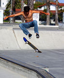Male Skateborder. At Santa Barbara Skate Park Summer of 2014 Stock Photography