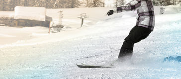 Male skier having fun on the snow. Male skier having fun skiing on the snow Stock Photos