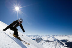 Male skier with mountain view Stock Image
