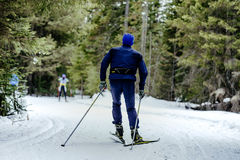 Male skier in pine forest. Active and healthy holiday in nature Stock Photos