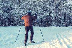 Male skier rides in the winter park at sunset stock image