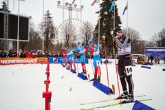 Male skier at start of race Royalty Free Stock Image