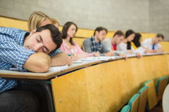 Male sleeping with students in lecture hall Royalty Free Stock Images