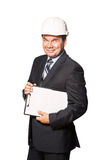Male smiling architect in hardhat isolated on. Smiling architect in hardhat isolated on white background Royalty Free Stock Images