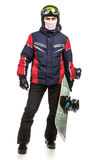 Male snowboarder with the board. On a white background Royalty Free Stock Photo