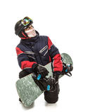 Male snowboarder with the board. On a white background Stock Image