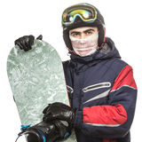 Male snowboarder with the board. On a white background Royalty Free Stock Photos