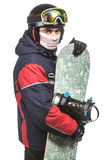 Male snowboarder with the board. On a white background Royalty Free Stock Images