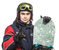 Male snowboarder with the board. On a white background Stock Photography