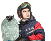 Male snowboarder with the board. On a white background Royalty Free Stock Photography